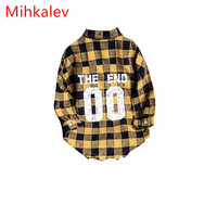 Mihkalev Yellow Plaid girls shirts for kids blouses and tops 2017 kids autumn clothes children school shirts long sleeve retail