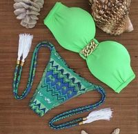 S משלוח חינם, M, L 4F4488 חם סקסי ברזילאי בגדי ים Bandeau למעלה וחליפת ביקיני תחתון עניבת ציצית ירוק אקזוטי סקסי החוף בגדי ים