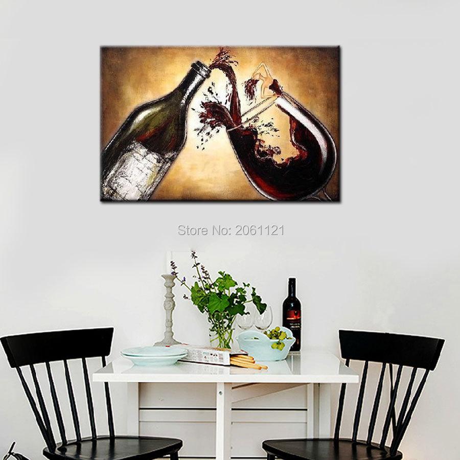 Pintura al óleo abstracta pintada a mano vino lienzo cuadros de ...
