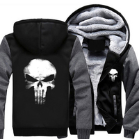 Punisher Skull Cosplay Coat Zipper Hoodie Winter Fleece Unisex Thicken Jacket Sweatshirts