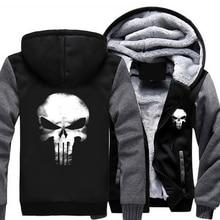 Размер США Punisher Череп Косплей Пальто Молнии С Капюшоном Зима Руно Мужская Сгущает Куртка Кофты