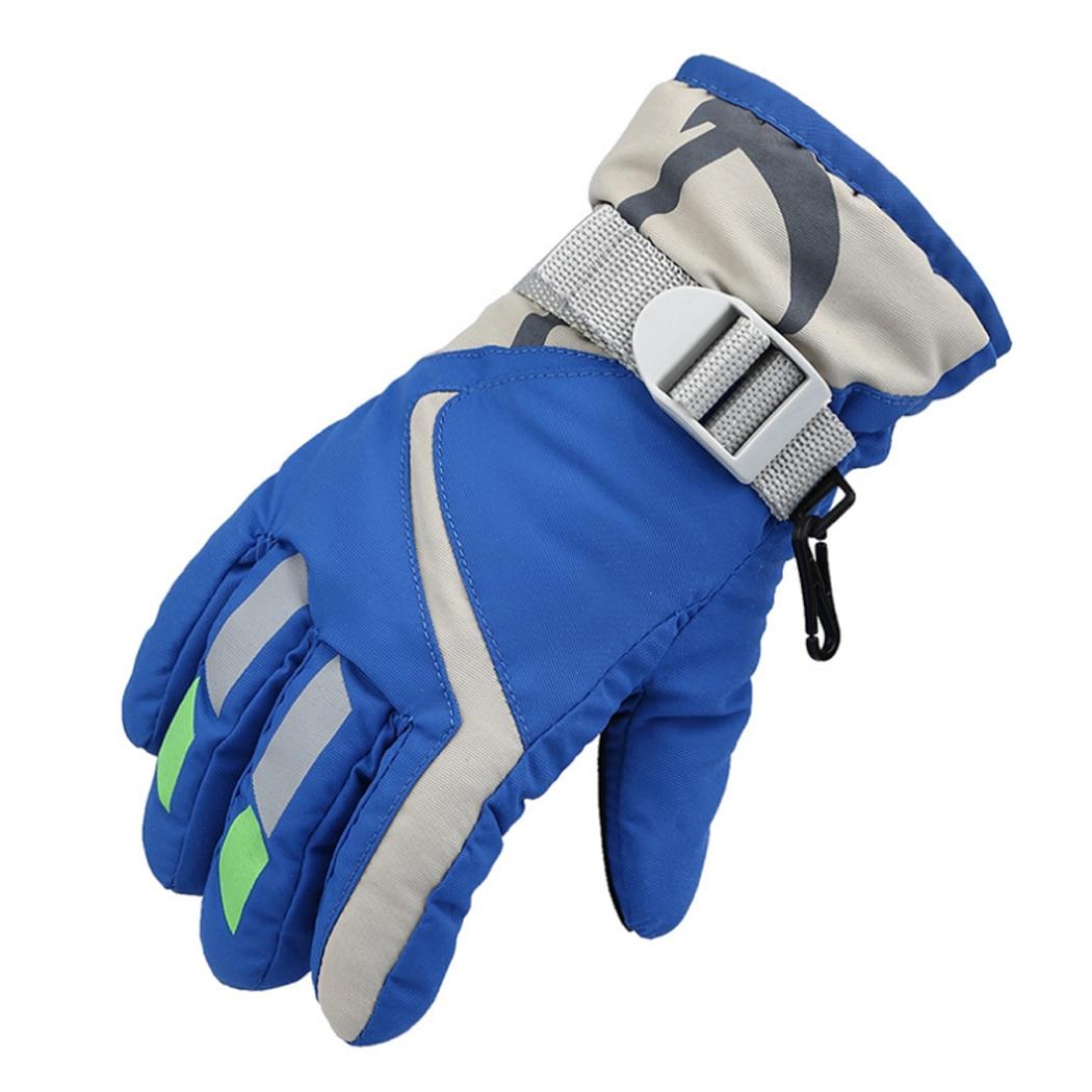 Boys Girls Waterproof Ski Gloves Children Kids Winter Warm Skiing Gloves Snow Sport Mittens Outdoor Ski Snowboard Cyling