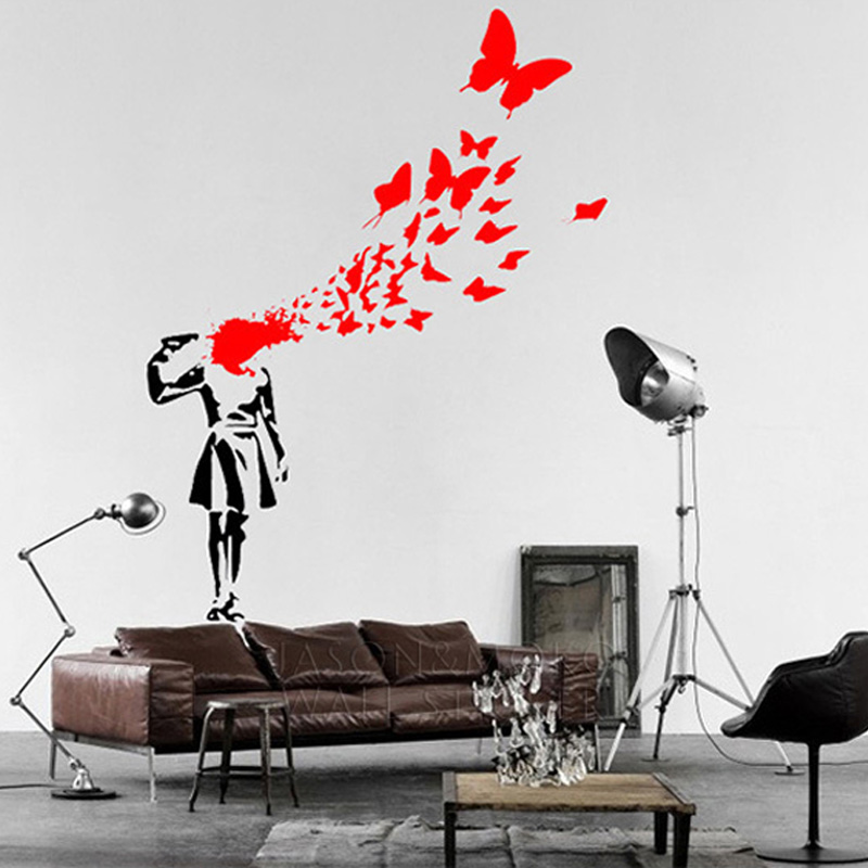 Creative Banksy Blood Butterfly Kill Suicide Girl Art Cool Vinyl Wall  Sticker Decal Mural Wallpaper Home Decoration 80x100cm NEW In Wall Stickers  From Home ... Part 68