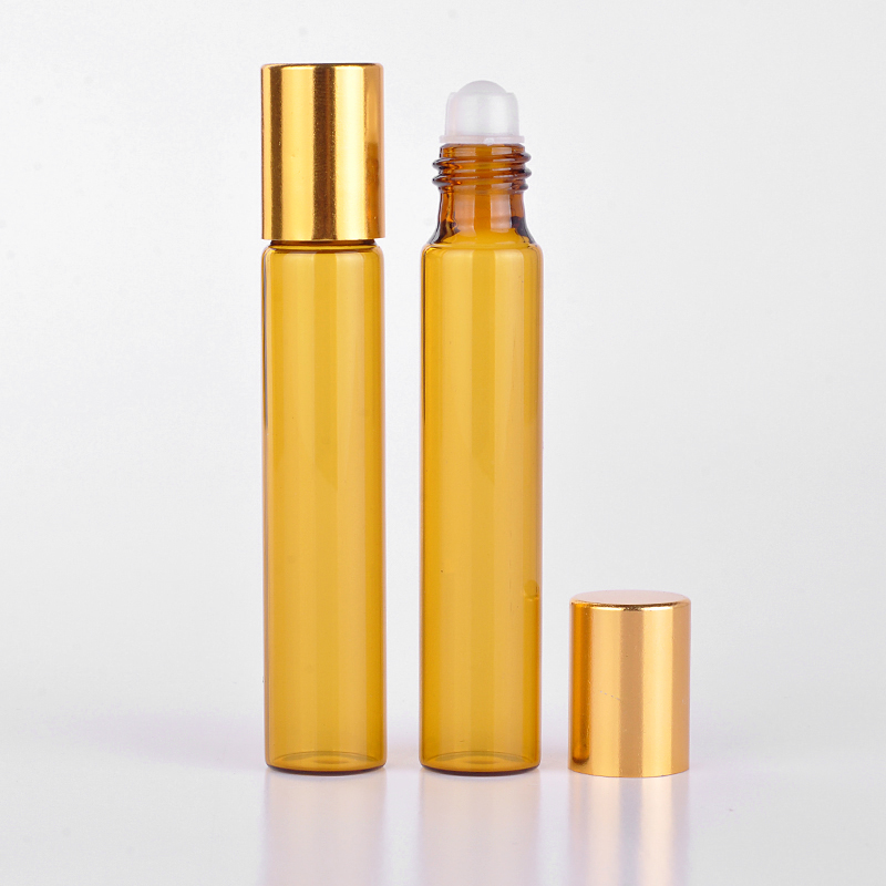 Wholesale 100 Pieces/Lot 10ML Portable Amber Glass Refillable Perfume Bottle With Roll On Empty Essential Oils Case For Traveler