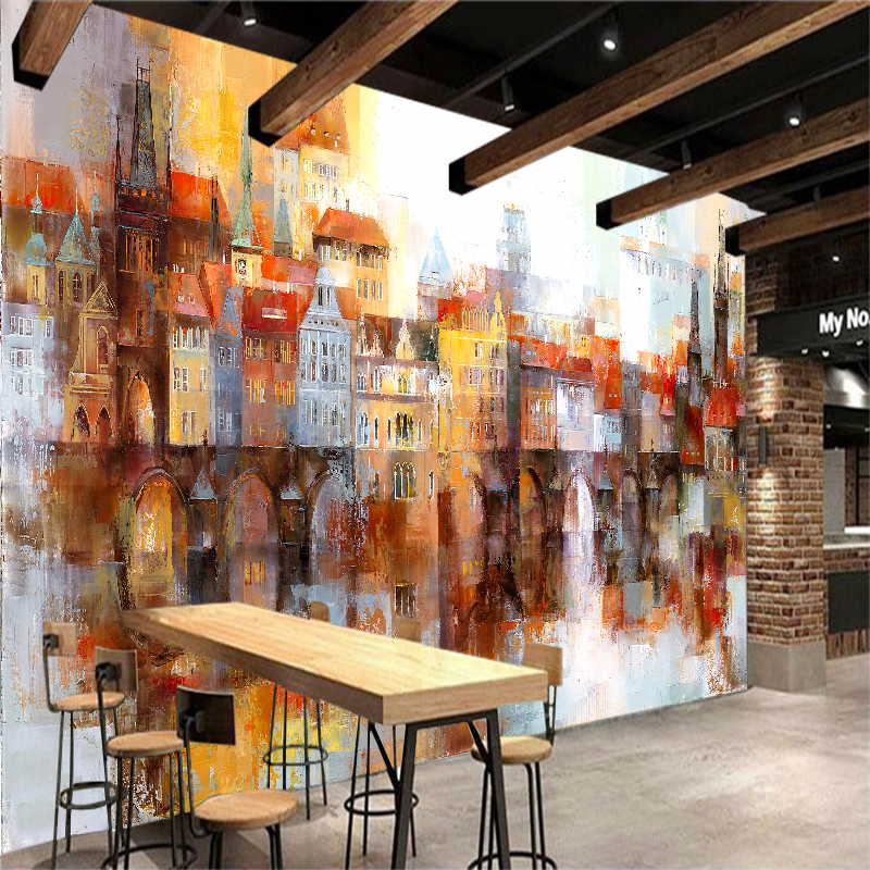 Custom 3D Wall Mural Photo Wallpaper Oil Painting of Color Building Contact Paper For Living Room TV Sofa Backdrop in Wall Stickers from Home Garden
