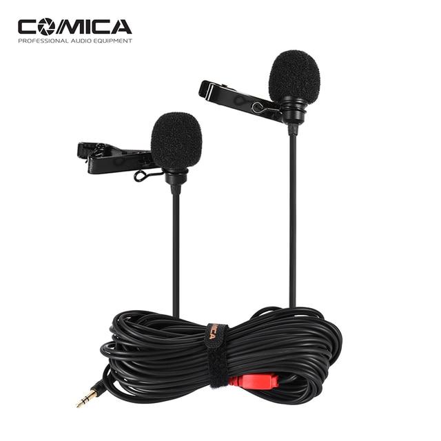 Comica cvm-d02 двойной-глава клип на петличный микрофон для DSLR/Action Камера смартфон для интервью livestream преподавания podcast