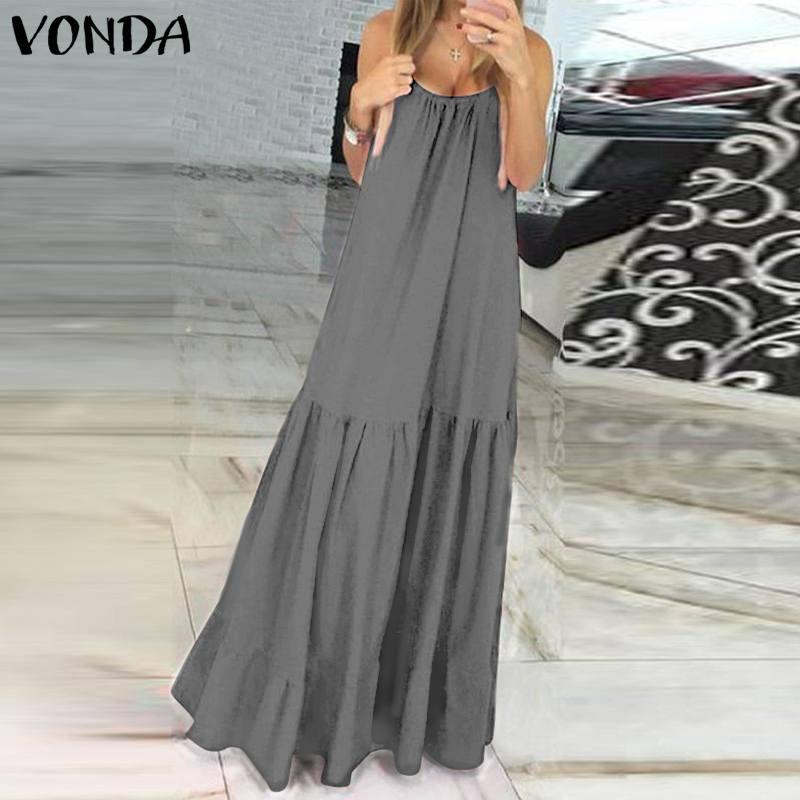 VONDA Bohemian Dress Women 19 Summer Sexy Sleeveless Spaghetti Strap Ruffle Swings Maxi Long Dresses Holiday Vestido Plus Size 7