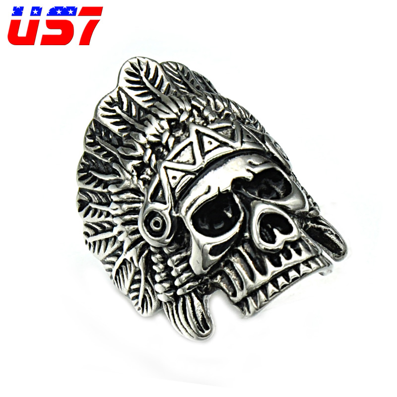 US7 Punk Gothic Skull Rings Gold/Silver Titanium Stainless Steel Tribe Apache Indian Chief Crown Rings For Men Hip Hop Jewelry