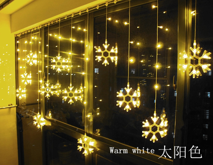 LED snowflake string curtains lantern Christmas decoration lights wedding festival wedding lights New Year neon lights 2.8Mx1.3M