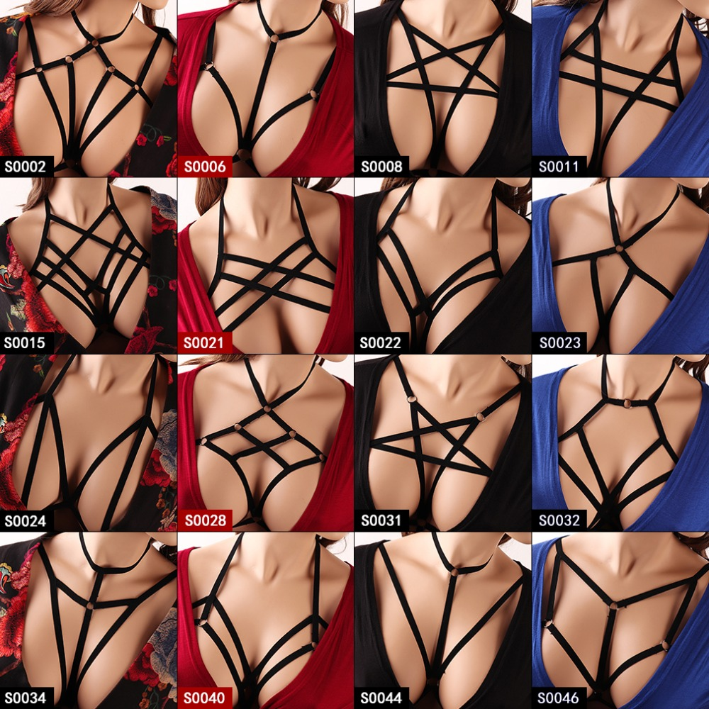Pentagram Belt Women Body Harness Top Cage Pastel Goth Punk Underwear Strappy Elastic Adjust Plus Size Dance Festival Rave