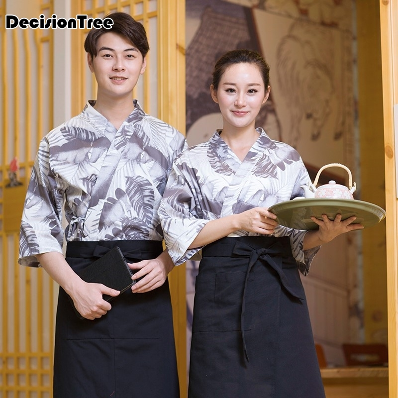 2020 Hot Unisex Japanese Korea Style Medium Sleeve Chef Cook Uniform Top Waiter Work Wear Restaurant  Cuisine Cook
