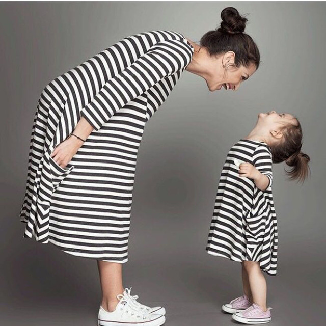 589ee2e7f97d8 Mother Daughter Dresses 2018New High Quality Fashion Long Sleeve Striped Pregnant  Mom Dress Family Look Matching Clothes Cotton
