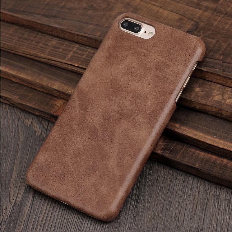 Цена за Solque Натуральная кожа чехол для iPhone 7/7 Plus 7 Plus сотовый телефон Ретро Винтаж Тонкий Жесткий Корпуса Обложка Luxury матовая кожа Чехлы