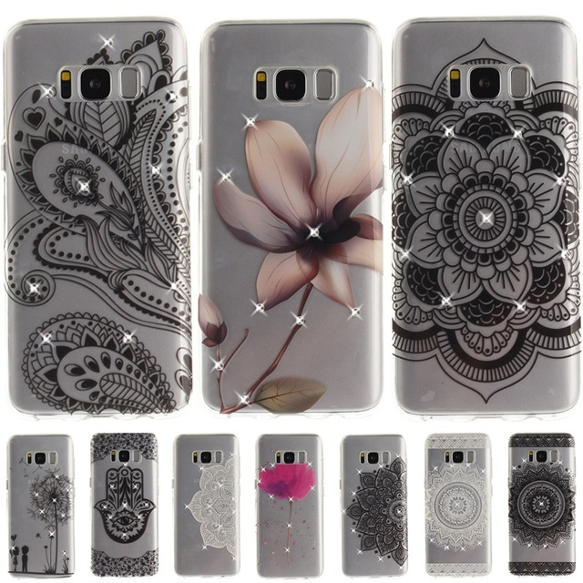 ef91f5f3a Rhinestone Fundas For Samsung Galaxy S8 Plus Case Girl Diamond Floral  Flower Mandala Henna Phone Cases For Samsung S7 edge Cover