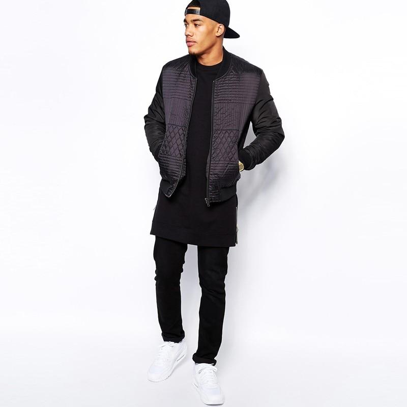 2017 Men's Black Color Long SLeeve T Shirt T-Shirt Zipper Shirt hip hop Streetwear Longline tshirts man Warm High street Tops 3