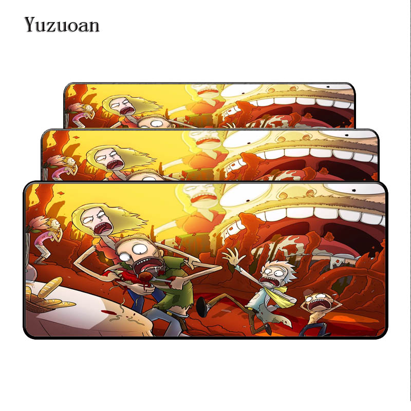 Yuzuoan 900*400*3MM Funny Anime Large Lock Edge Mousepad Rubber Play Mat Computer Desk Mouse pad for Optical Laster LOL DOTA Pad