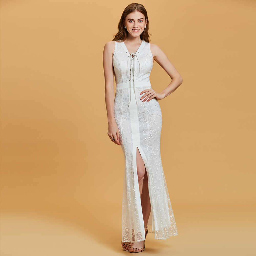 Dressv Blanco Vestido De Noche Largo Barato Cuello V Sin Mangas Dividido Frente Apliques Boda Fiesta Vestido Formal Tipo Sirena Vestidos De Noche