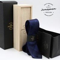 silk neck tie man slim wedding necktie male solid mariage kravat deep blue designer neckwear husband boy friend gift wool box