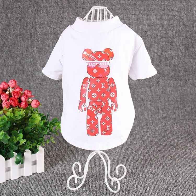 Japan and South Korea Pet Clothes T-shirt Printing Pink Bear French Bulldog Short-Sleeved Chihuahua Shirt Puppy Clothes Vest