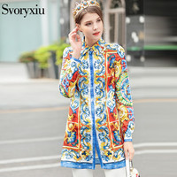 SVORYXIU Women S Summer Fashion Designer Long Blouse High Quality Long Sleeves Colorful Hand Painted Printed