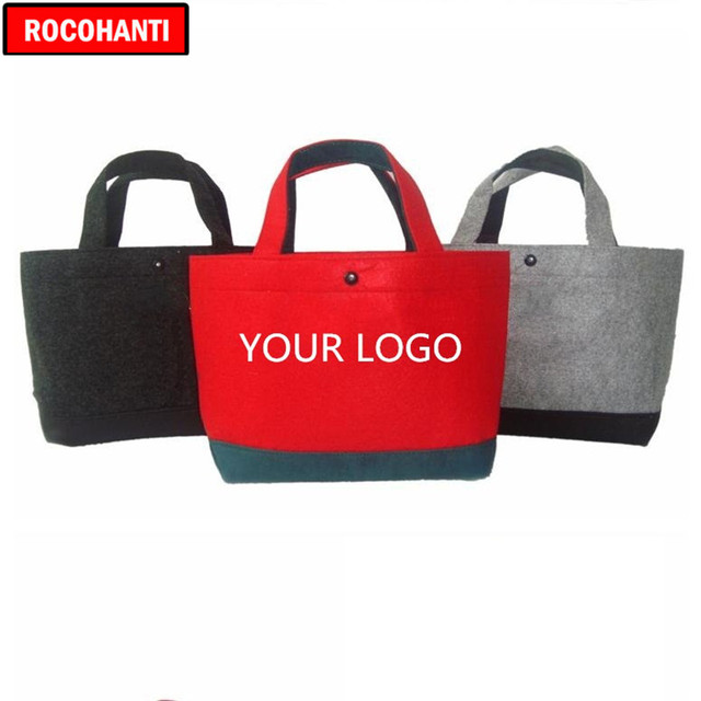 100PCS Custom Handled Felt Bag Eco Friendly Shopping Bag Red / Black / Grey Assorted Colors Customized LOGO Printing