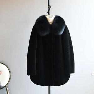 Image 4 - OFTBUY 2020 חורף מעיל נשים אמיתי פרווה מעיל גז כבשים מעיל נשי צמר בגיל העמידה אמא טבעי שועל פרווה צווארון עבה חם