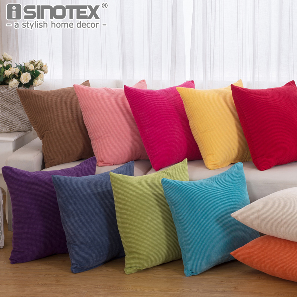 Corduroy Fabric Pillowcase Pillow Case Cushion Cover Square Solid Soft Decoration Living Room Sofa Bedroom Car 43x43CM 55x55CM