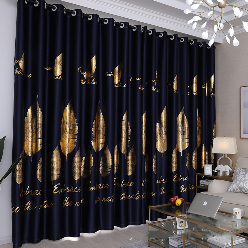 Silver Leaf Blackout Curtain For Bedroom Gold Shiny Kids Children Nursery New Home Decor Window Treatment Drapes JS36C