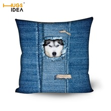 HUGSIDEA Fashion Cushion Cover Sofa Living Room Bedroom Car Pillow Case 3D Denim Dinosaur Wolf Owl Printed Pillowcase Home Decor