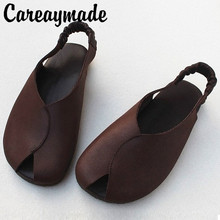 Careaymade-Genuine leather Japanese Literature Retro Handmade Sandals Flat Soft Bottom Original Single-Head Female Sandals new japanese original genuine switch ex 13b