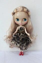 Blygirl K cachos dourados Blyth boneca corpo nu pele transparente sete articulações boneca boneca comum DIY mudar sua própria maquiagem
