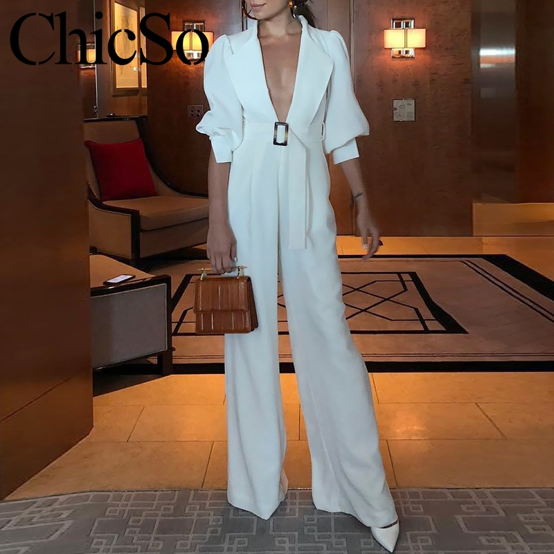 MissyChilli White Lantern Sleeve Long Pants Jumpsuit Women Elegant Wide Leg Female Romper Winter Office Lady Belt Sexy Overalls