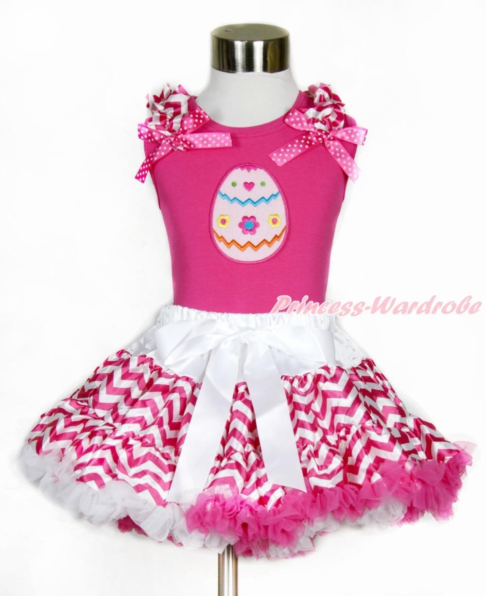 Hot Pink Tank Top, Hot Pink White Wave Ruffles Hot Pink White Dot Bow, Easter Egg Print,  Hot Pink White Wave Pettiskirt MAMH144 easter bow bunny pink white dots top dot waist rainbow girl pettiskirt set 1 8y mapsa0428