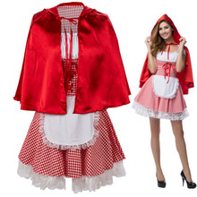 Plus Size S 6XL Sexy Womens Fairy Tale Little Red Riding Hood Costume For Halloween Cosplay Fancy Dress With Cloak