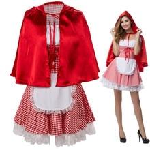 בתוספת גודל S 6XL סקסי נשים ברדס רכיבה אדומה קטן אגדת תלבושות עבור ליל כל הקדושים קוספליי פנסי שמלה עם גלימה