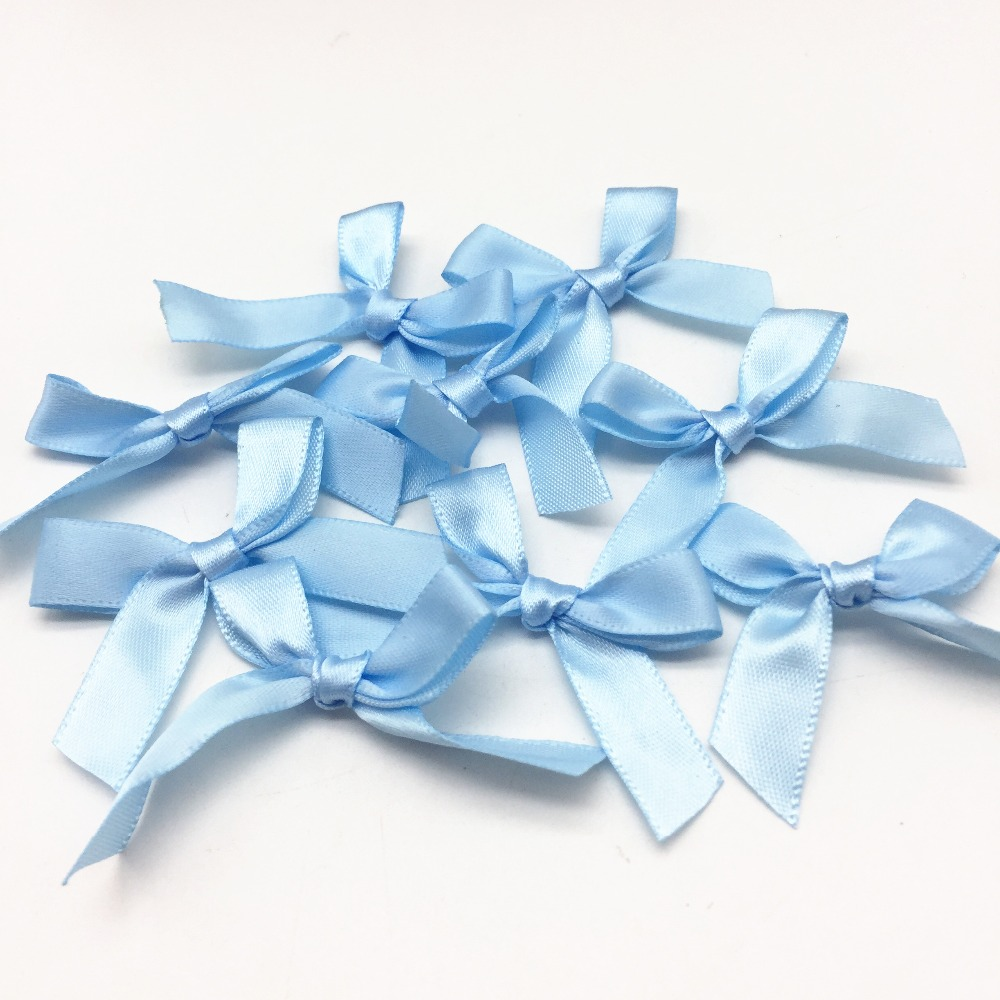 bcaa1828ab20e US $5.69 5% OFF|100pcs Blue Color Satin Ribbon Tail Bows Decorative Bow  Ties For Wedding Invites Cardmaking Embellishments DIY Crafts-in Ribbons  from ...