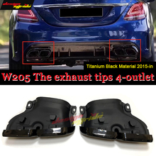 цены For Mercedes Benz W205 Titanium Black Material Sports Rear The Exhaust Tips 4-outlet Rear Diffuser C Class C180 C200 C300 15-in
