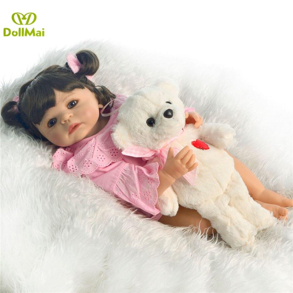 55 cm lisse silicone vinyle fille boneca cheveux bouclés bebes renaître bambin bébé poupées lol original enfants préféré jouet cadeau d'anniversaire - 6