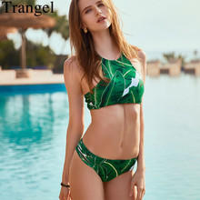 Trangel High Neck Bikini Green Leaf Print Bikini Set Brazilain Swimwear Bikinis Women 2019 Swimming Suit Maillot De Bain Femme