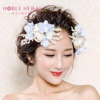 Handmade Accessories White Lace Flower Wedding Head Dress Pearl Bride Headdress Bridal Hair Jewelry Headpieces