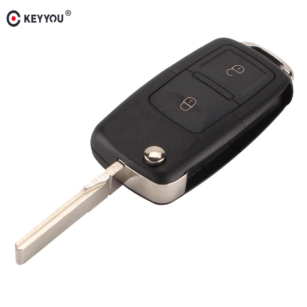 Keyyou 2 Buttons Flip Folding Car Key Shell Replacement