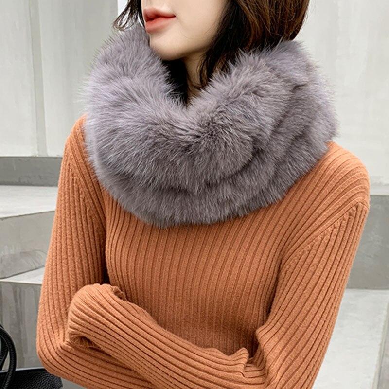 Fashion Winter Real Fox Fur Snood Scarf Women Genuine Fur Round Scarves 2018 Hot Sale Ladies Scarfs Warm Neck Warmer Endness