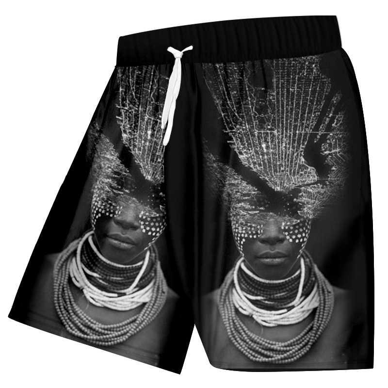 OGKB Người Đàn Ông của Bãi Biển Quần Short Vui In Phụ Nữ Châu Phi Với Vòng Cổ 3d Boardshorts Nam Hiphop Punk Đàn Hồi Eo Boxers Quần