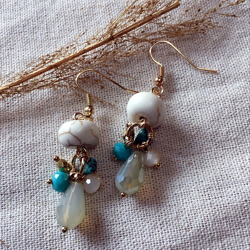 Dongmu Jewellery Handmade Water Drop Earrings Natural Stone Pendant Dangle Earrings Vintage Ethnic Style Fashion Valentine's Day