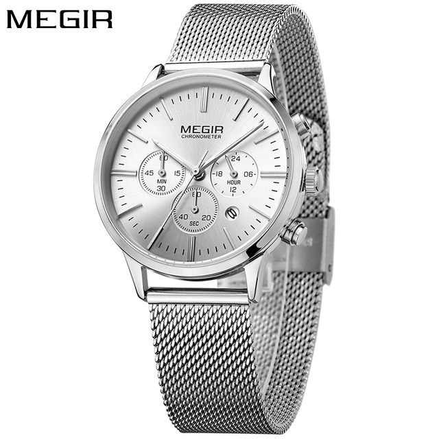 MEGIR Sport Chronograph Fashion Silver Women Watches Men Mesh Steel Band Luxury