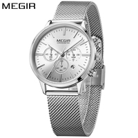 MEGIR Sport Chronograph Fashion Silver Women Watches Men Mesh Steel Band Luxury Brand Quartz Wrist Watch Clock Lover reloj mujer