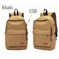 Men's canvas backpacks USB charging student laptop bags schoolbags for girl boy teenagers women casual travel rucksack mochila