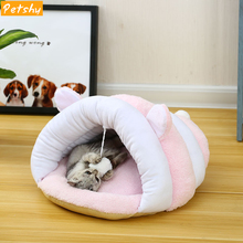 Petshy Puppy Cat Nest Cave Winter Warm Small Dog Kennel Bed Lovely Soft Cats Sleeping Cushion Basket Kitten Play Pet House