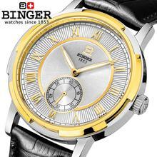 Switzerland watches men luxury brand BINGER glow Mechanical Wristwatches leather strap Water Resistant men's watch B-5037-5