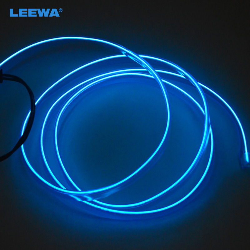 Blue 1m Flexible Moulding EL Neon Glow Lighting Rope Strip With Fin For Car Decoration #CA3267